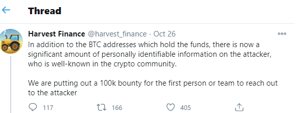 tweet by Harvest Finance for bounty and identity of hacker