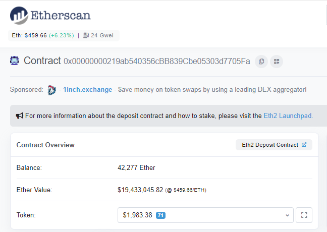 Ether deposit for staking