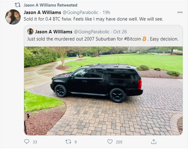 Jason Williams tweet for the sale of his 2007 Chevy Suburban