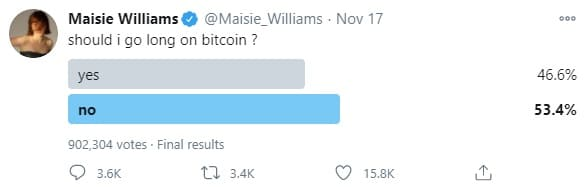 Maisie Williams tweet asking if she'll go for bitcoin long