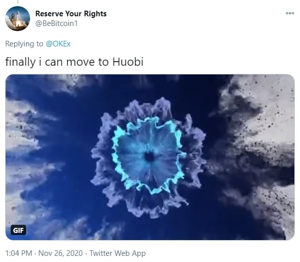 OKEx user hinting at moving to huobi