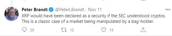 peter brandt tweet about Ripple