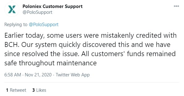 poloniex update on issue after offline