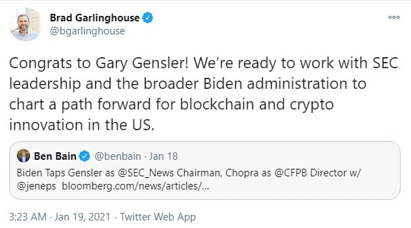 Garlinghouse tweet on Gary Gensler appointment as SEC Chief