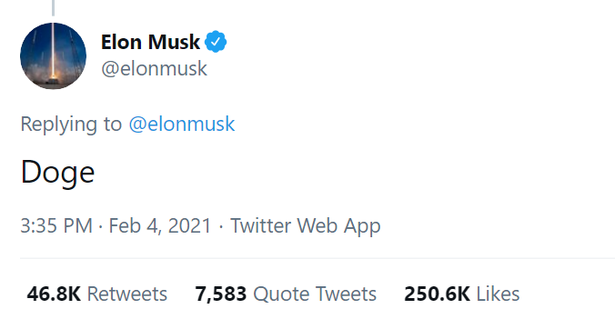 Elon Musk first DOGE tweet on Feb 4
