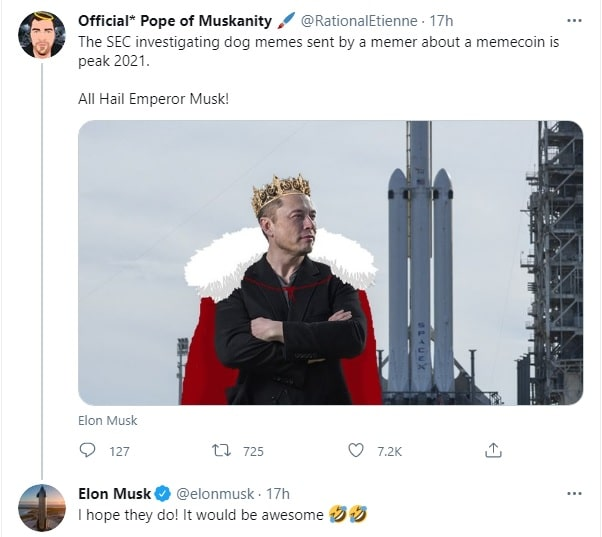 Elon Musk to a reply to an apparent US SEC investigation