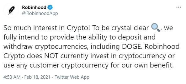 Robinhood tweet on launching services for crypto deposit and withdrawals
