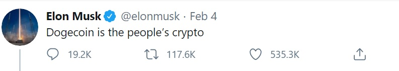 Elon Musk second DOGE tweet