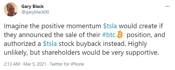Gary Black suggest Tesla to sell its Bitcoins
