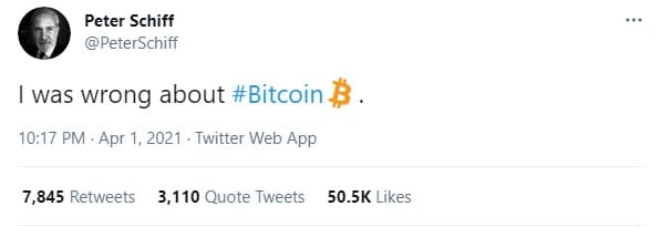 Schiff tweet about bitcoin